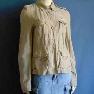 J.Crew Khaki Utility Linen Silk Jacket M